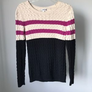 Croft & Barrow Color Block Striped Cable Knit